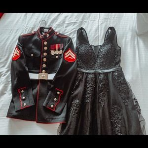 Black embroidered ball or prom dress